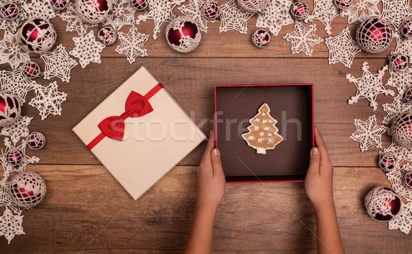 Сток-фото: Рождества · шкатулке · пряничный · Cookie · внутри