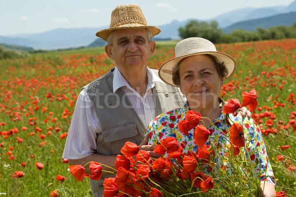 Senior couple on the poppy field enjoying summer Stock photo © lightkeeper