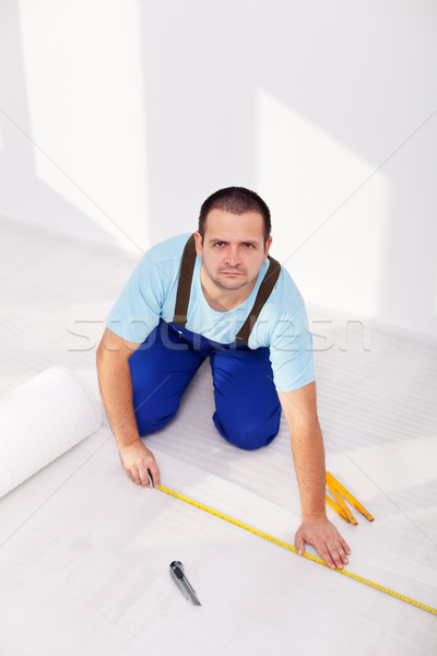 Laying laminate flooring - the insulation layer Stock photo © lightkeeper