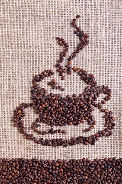 Café arpillera forma taza textura Foto stock © lightkeeper