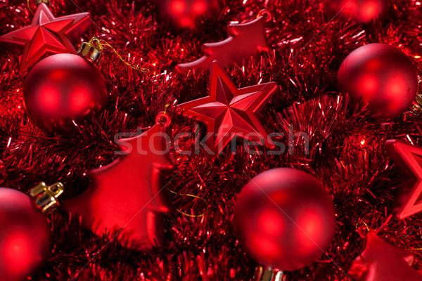 Stok fotoğraf: Kırmızı · Noel · süsler · top · star · renk
