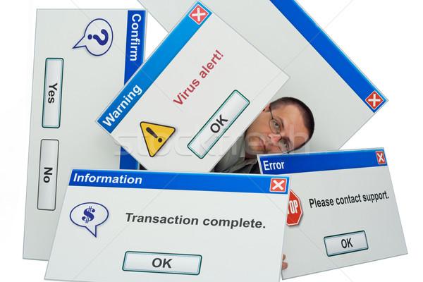 Lenyűgöző technológia férfi fedett számítógép üzenet Stock fotó © lightkeeper