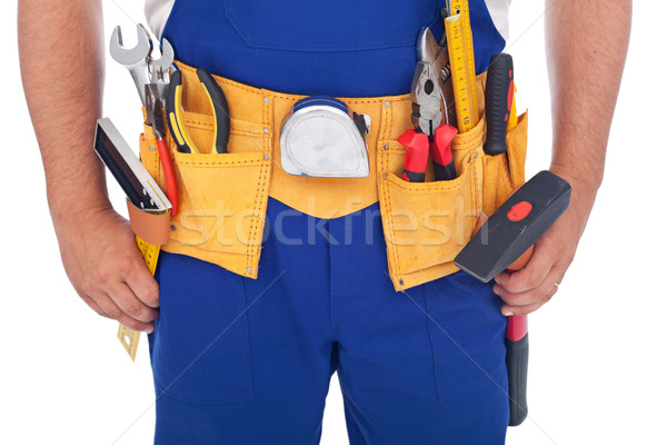 Man tools gordel werk Blauw Stockfoto © lightkeeper