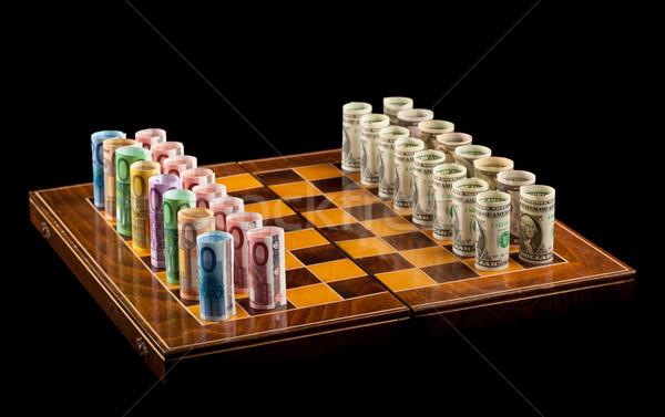 Euros dollars rivalité monnaie roulé Photo stock © lightkeeper