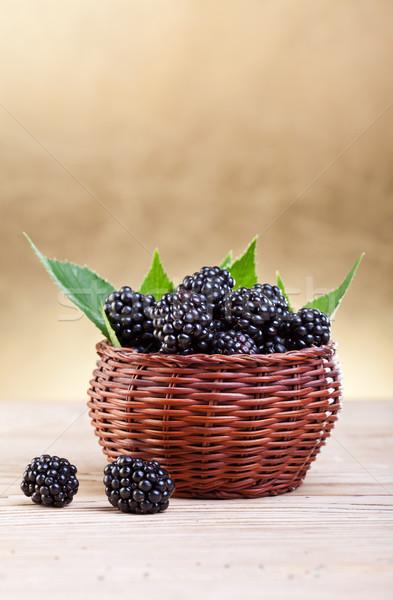 Fresh blackberries in small basket Stock photo © lightkeeper