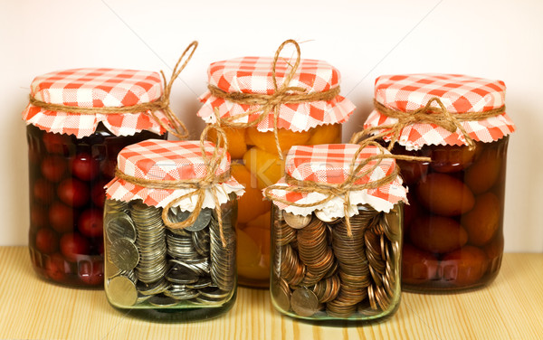 Canned goods on the shelf - savings concept Stock photo © lightkeeper