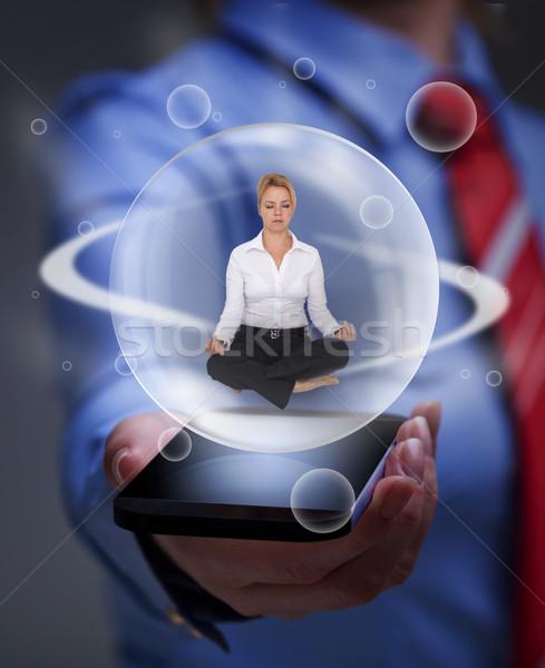 Egyensúly digitális információ túlterhelés üzletasszony megnyugtató Stock fotó © lightkeeper
