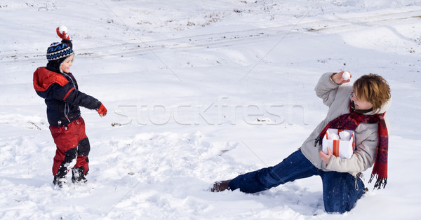 снежный ком весело первый последний снега зима Сток-фото © lightkeeper