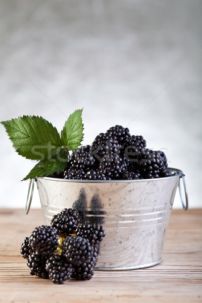 Bucket of fresh blackberries on silver background Stock photo © lightkeeper