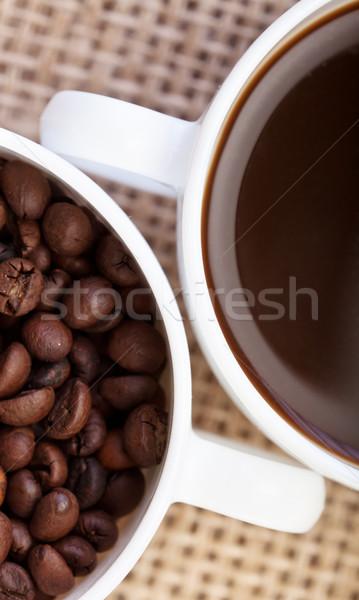 Kávé részlet kávé főzet csészék közelkép Stock fotó © lightkeeper