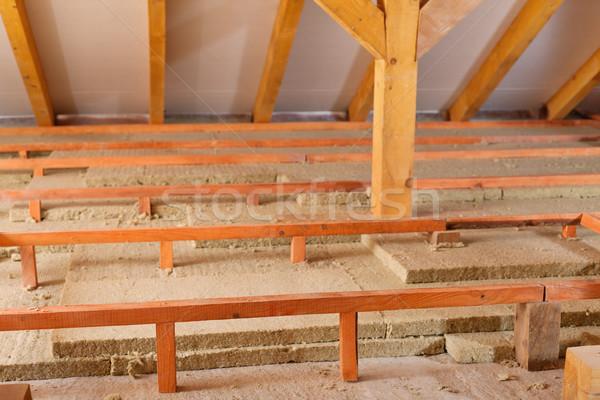 Mineral yün kullanılmış yalıtım çatı yeni Stok fotoğraf © lightkeeper