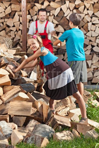çocuklar yardım baba kıyılmış yakacak odun Stok fotoğraf © lightkeeper