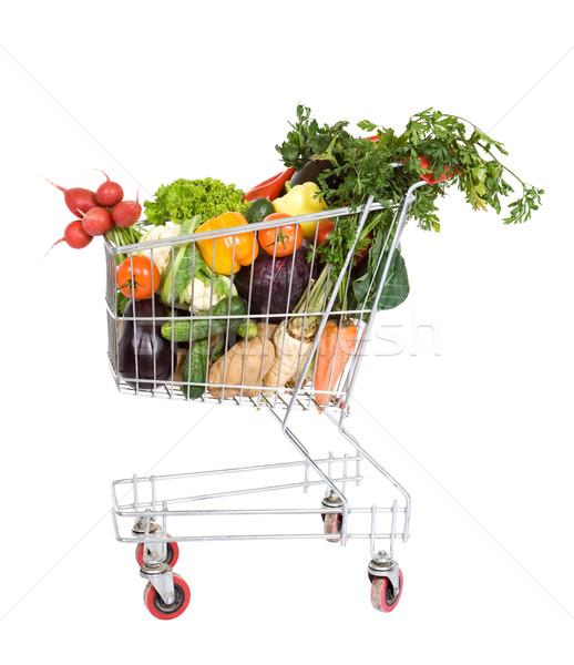 Foto stock: Carrinho · de · compras · legumes · legumes · frescos · ovo · verde · cenoura
