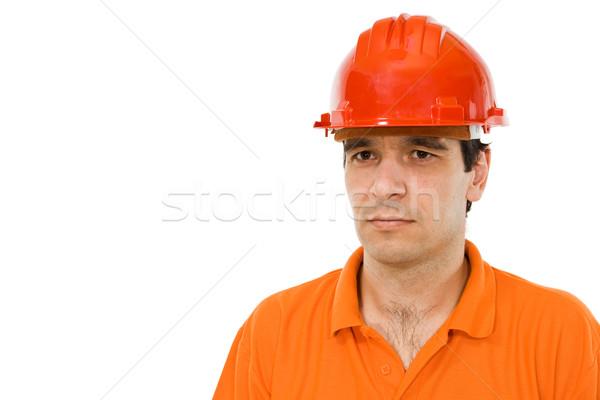 Mérnök narancs póló piros kalap férfiak Stock fotó © lightkeeper