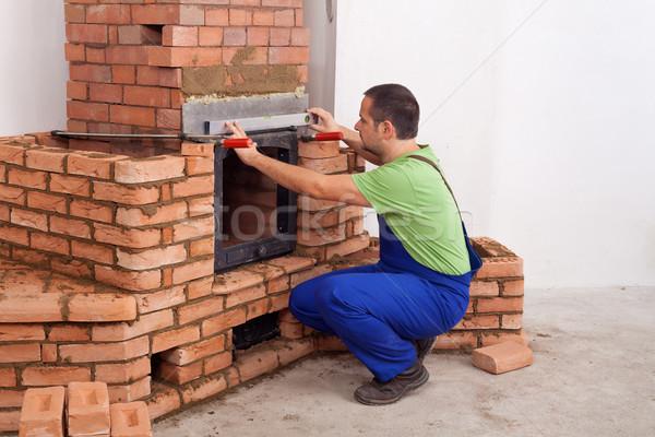 Budynku kamieniarstwo pracownika nowy dom kopia przestrzeń Zdjęcia stock © lightkeeper