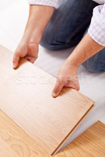 Home improvement - installing laminate flooring Stock photo © lightkeeper
