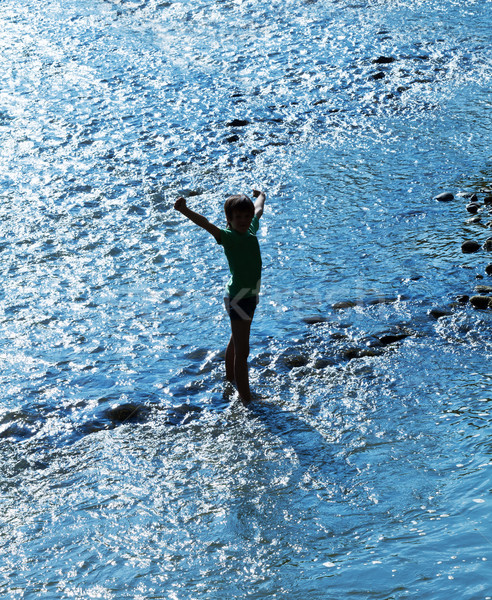 Stock photo: Child standing in water sparkling in backlight