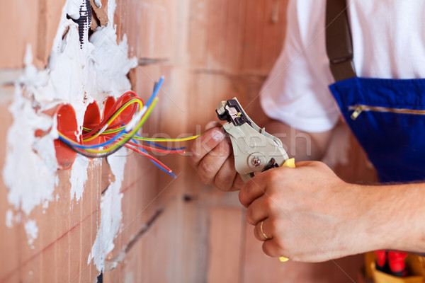 Electrician hands with pliers Stock photo © lightkeeper