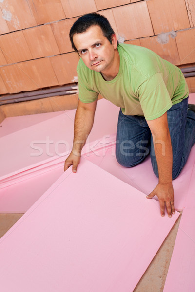 Laying insulation layer on the floor Stock photo © lightkeeper