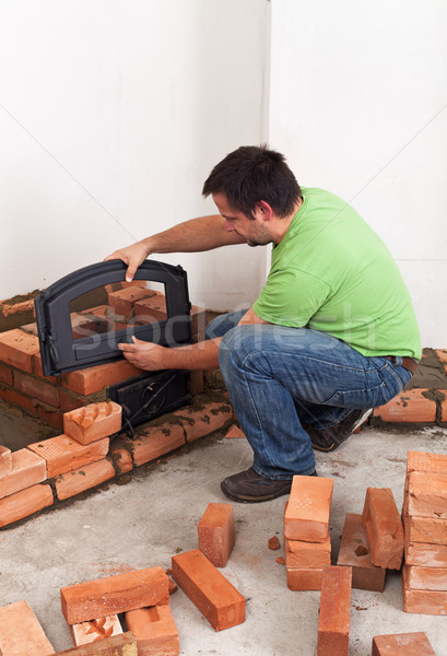 Building a masonry heater Stock photo © lightkeeper