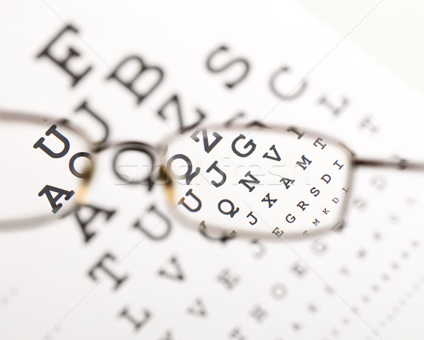 Blurry text clearing up through eyeglass Stock photo © lightkeeper
