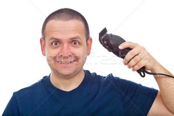 Vicces férfi haj körülvágó izolált fehér Stock fotó © lightkeeper