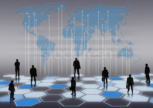 Business network światowy biznesmenów inny pozycje Internetu Zdjęcia stock © lightkeeper