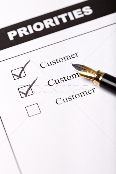 Cliente negocios cuestionario pluma papel cuadro Foto stock © lightkeeper