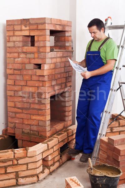 Trabalhador edifício alvenaria aquecedor consultor plano Foto stock © lightkeeper