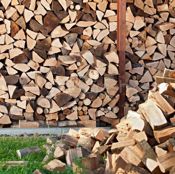 Yakacak odun doku yangın stok kesmek Stok fotoğraf © lightkeeper