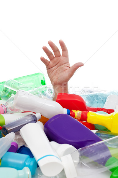 Környezet műanyag szemét férfi kéz üveg Stock fotó © lightkeeper