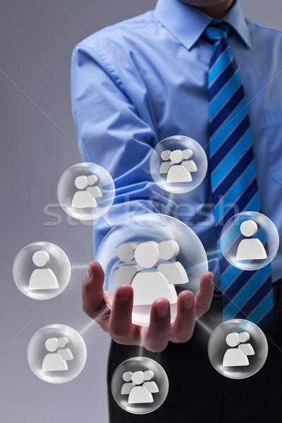 Işadamı sosyal ağ pazarlama araç Internet Stok fotoğraf © lightkeeper