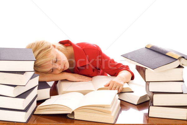 Woman asleep on books Stock photo © lightkeeper