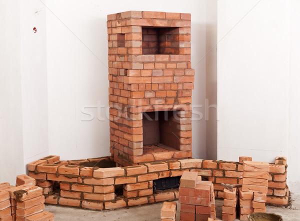 Partially built masonry heater Stock photo © lightkeeper