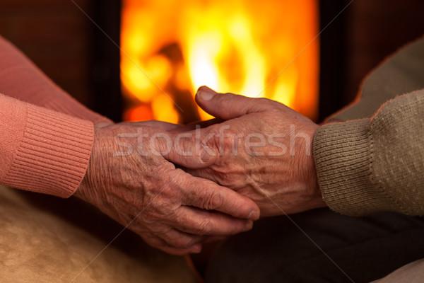старший старые рук утешительный другой камин Сток-фото © lightkeeper