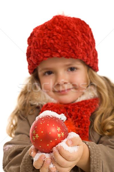 Küçük kız sıcak elbise Noel top Stok fotoğraf © lightkeeper