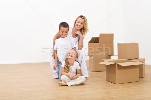 Сток-фото: дети · женщину · новых · большой · домой · счастливым