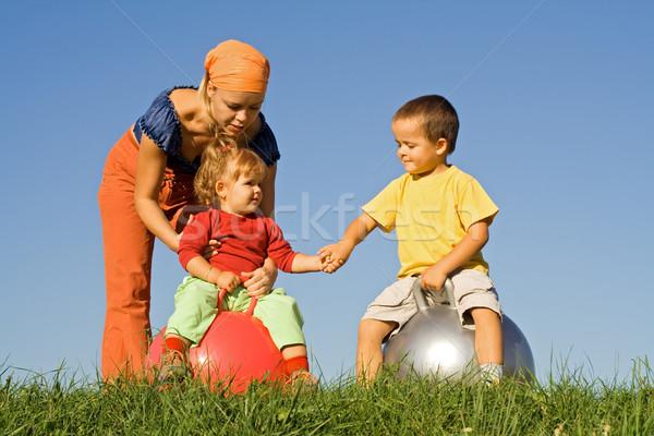 Aile açık havada oynama birlikte çim dikkatsiz Stok fotoğraf © lightkeeper