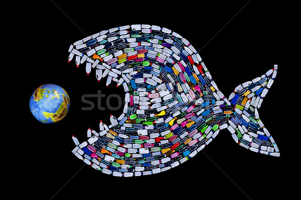 Garbage destroying world oceans and earth - concept Stock photo © lightkeeper