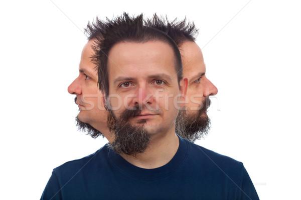 Homem três faces olhando diferente instruções Foto stock © lightkeeper
