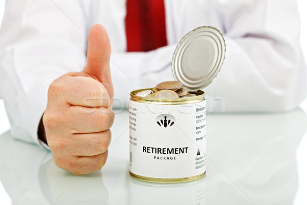 Senior businessman retiring with thumbs up sign Stock photo © lightkeeper