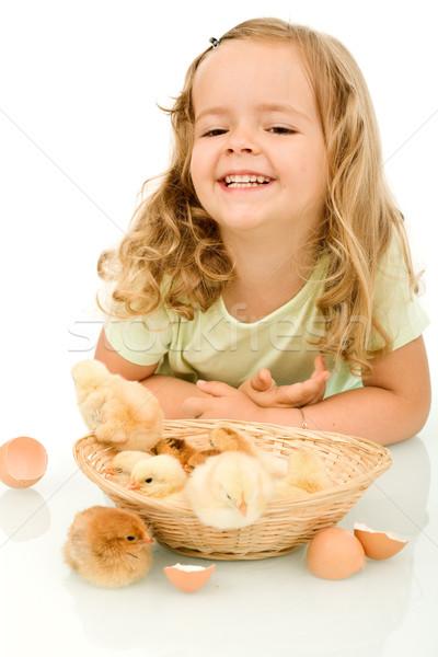 Foto stock: Feliz · little · girl · primavera · fofo · cesta · isolado