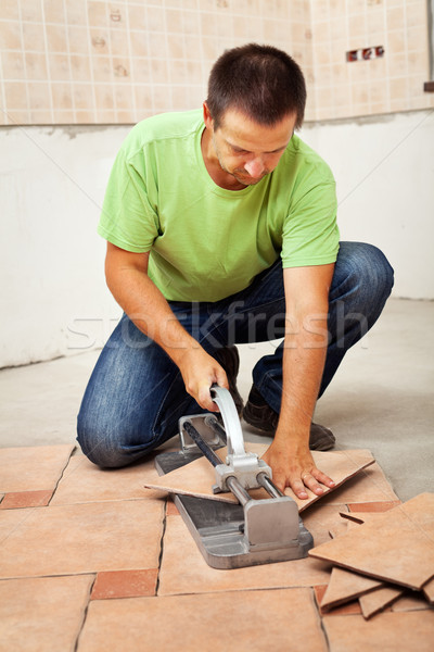 Cutting ceramic floor tiles