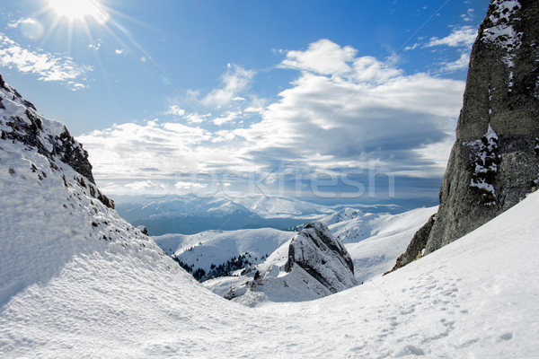 Snowy valley between the mountains Stock photo © lightkeeper