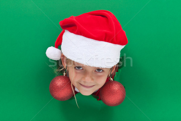 Funny christmas girl with bauble earrings Stock photo © lightkeeper