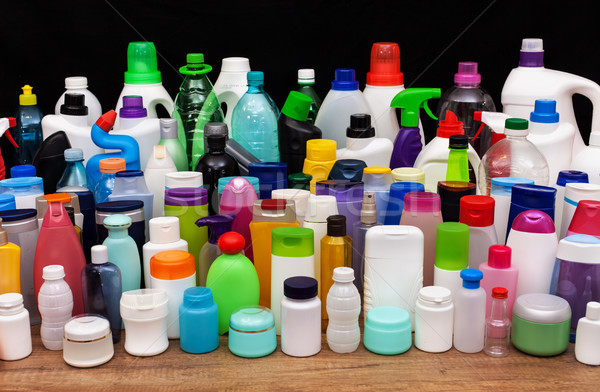 Set of usual plastic bottles from a household - pollution concep Stock photo © lightkeeper