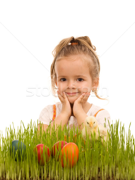 Little girl preparing for easter Stock photo © lightkeeper