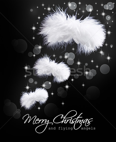 Christmas card with fluffy angel wings Stock photo © lightkeeper
