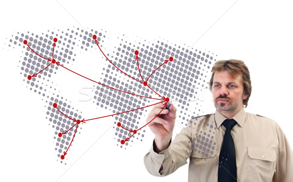 Stock photo: Social network drawn by businessman