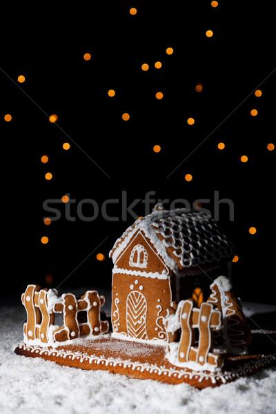 Mézeskalács ház csillagos ég hó karácsony copy space Stock fotó © lightkeeper